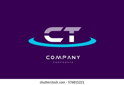 ct c t cyan magenta blue letter combination alphabet vector company logo icon sign design template
