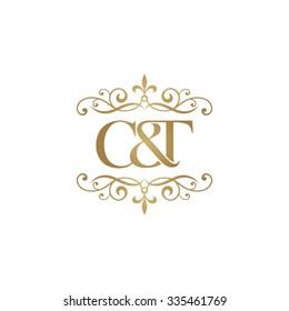 C&T Initial logo. Ornament ampersand monogram golden logo