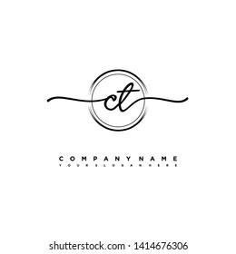 CT initial signature logo. handwriting logo template vector,