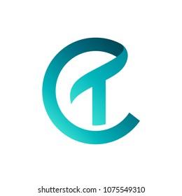 CT Logo, Initial Letter Logo Template, Letter C + Letter T Logo