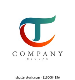 CT logo, TC logo, letter c and letter t initial letter logo template