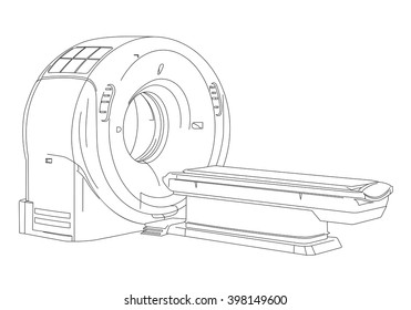 CT scanner (computerized tomography scanner), MRI (magnetic resonance imaging) machine, medical equipment, line drawing illustration