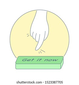 CTA, call to action button and human hand is ready to click on it. Inbound or permission marketing, lead conversion concept. Flat light outline vector illustration on white.
