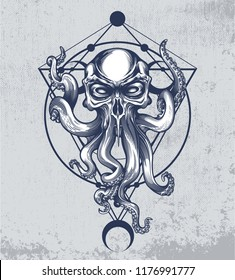 Cthulhu creature with skull head on grunge background and sacred geometry ornament. Vector illustration in engraving technique for posters, t-shirt prints, tattoo, labels and stickers.