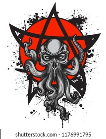 Cthulhu creature with skull head on red circle label with black ink splashes and star sign. Vector illustration in engraving technique for posters, t-shirt prints, tattoo, labels and stickers.