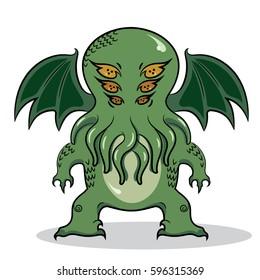 Cthulhu. Monstrous Cthulhu, isolated on white vector illustration