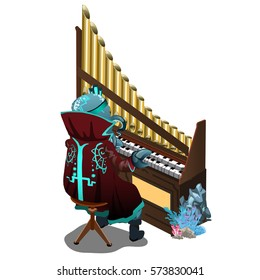 Cthulhu plays a terrible melody on the organ isolated on white background. Cartoon vector illustration close-up.