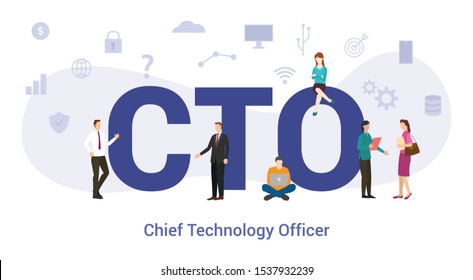 cto chief technology officer concept with big word or text and team people with modern flat style - vector