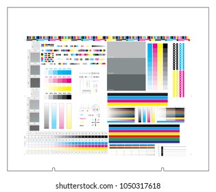CTP plate 4 separation chart CMYK color. Vector set process calibration, printing, registration, control marks and strips. Color bar and tone gradient bar. Offset print test in cmyk color model.