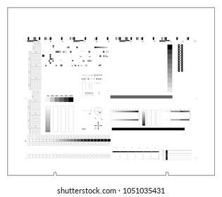 CTP plate black separation chart cmyk color. Offset print test in cmyk color model. Vector set process calibration, printing, registration, control marks and strips. Color bar and tone gradient bar.