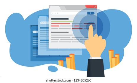 CTR acronym for click through rate. Internet campaign and marketing strategy. Advertising with banner on web page. Flat vector illustration