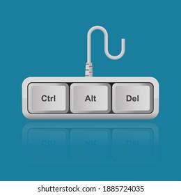 Ctrl, Alt, Del keyboard keys isolated on background vector illustration,shortcut for restart computer.