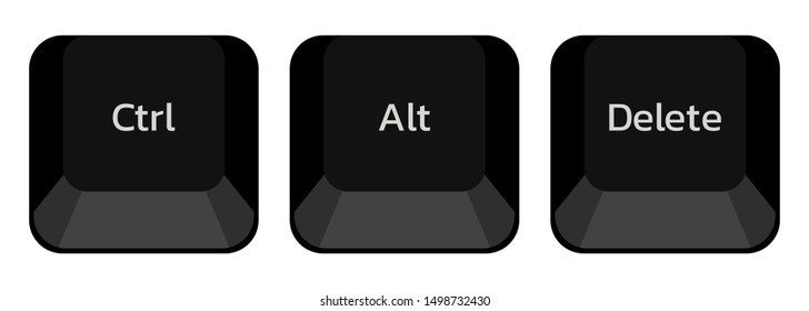 Ctrl , Alt and delete buttons to fix computer's hanging problem , vector