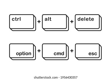 Ctrl alt delete and option cmd esc shortcut keys for force quit keyboard keys concept in vector icon