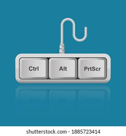 Ctrl, Alt, PrtScr keyboard keys isolated on background vector illustration,shortcut for print screen monitor.