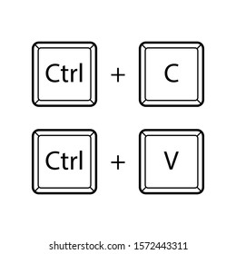 Ctrl C, Ctrl V keyboard buttons. User interface command standard set. Copy and paste key shortcut. Black and white computer icons, vector illustration.