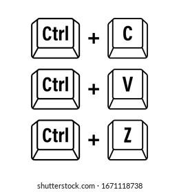 Ctrl C, Ctrl V and Ctrl Z computer keyboard buttons. Desktop interface. Web icon. Vector stock illustration.
