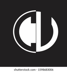 CU Logo monogram with Negative space style design tempate