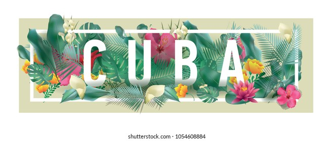 Cuba City Typographic Floral Framed Vector Card Design