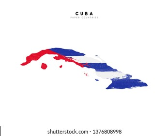 Cuba detailed map with flag of country. Painted in watercolor paint colors in the national flag.