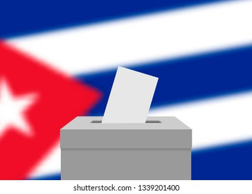 Cuba election banner background. Ballot Box with blurred flag