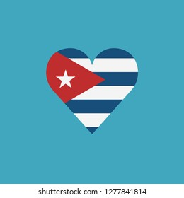 Cuba flag icon in a heart shape in flat design. Independence day or National day holiday concept.