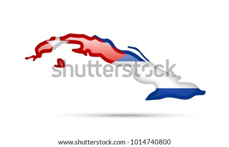 Cuba Flag Outline Country On White Stock Vector Royalty Free