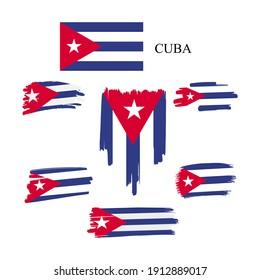 CUBA Flag Set. Vector stock illustration isolated on white background.