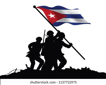 Cuba flag and soldiers vector drawing