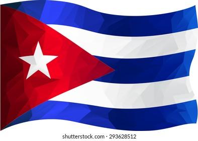 Cuba flag in triangle design