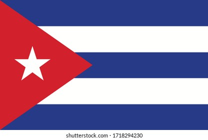 Cuba flag vector graphic. Rectangle Cuban flag illustration. Cuba country flag is a symbol of freedom, patriotism and independence.