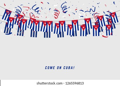 Cuba garland flag with confetti on white background, Hang bunting for Cuba celebration template banner.
