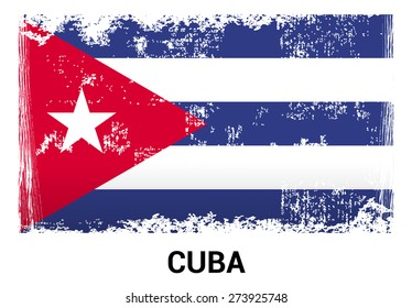 Cuba grunge flag isolated vector in official colors and Proportion Correctly. country's name label in bottom