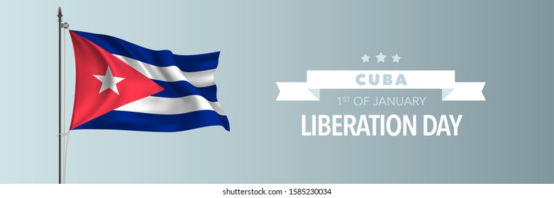 Cuba happy liberation day greeting card, banner vector illustration. Cuban national holiday 1st of January design element with waving flag on flagpole