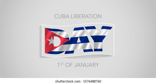 Cuba happy liberation day vector banner, greeting card. Cuban wavy flag in nonstandard design for 1st of January national holiday