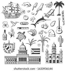 Cuba and Havana icons, travel and tourist famous landmark symbols. Vector Cuba flag, Havana parliament, cigar and historic frigate ship, sugar cane and rum, parrot and Caribbean guitar