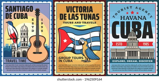 Cuba and havana vacation travel tours vector retro banners. Cuban trogon bird, catholic church and classical guitar, cuba national flag, macaw parrot and capitol building. Tourist agency trip poster