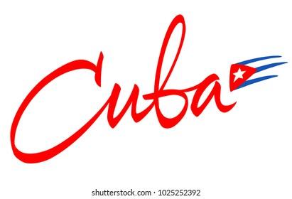 Cuba lettering design for t-shirt, mug, poster, postcard, sign.