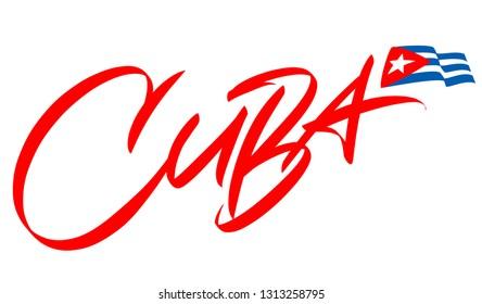 Cuba lettering design for t-shirt, mug, poster. Vector hand drawn inscription. Viva Cuba Libre. Viva Cuba. Apparel Print.