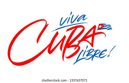 Cuba lettering design for t-shirt, mug, poster. Vector hand drawn inscription. Viva Cuba Libre. Apparel Print. Cuba handwritten inscription.