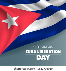 Cuba liberation day greeting card, banner, vector illustration. Cuban national day 1st of January background with elements of flag, square format