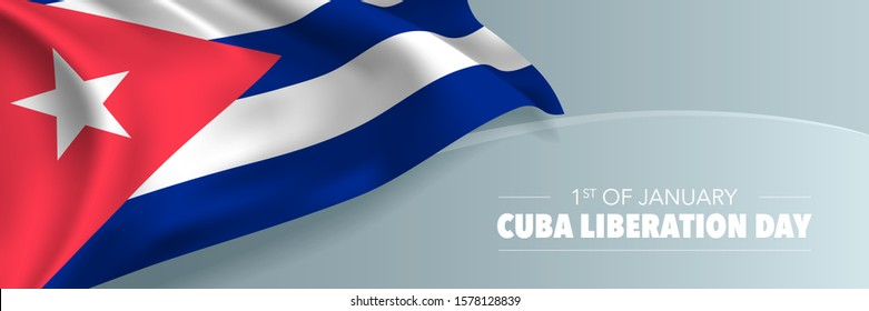 Cuba liberation day vector banner, greeting card. Cuban wavy flag in 1st of January national patriotic holiday horizontal design