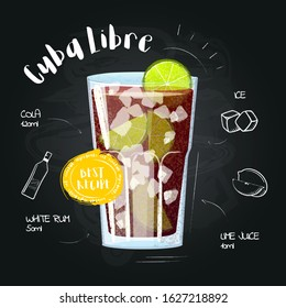Cuba Libre. Drawn cocktail - instruction for making a drink at the bar. Image in a cartoon style  on a black chalkboard with a set of ingredients. Vector illustration