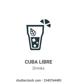 Cuba libre vector icon on white background. Flat vector cuba libre icon symbol sign from modern drinks collection for mobile concept and web apps design.