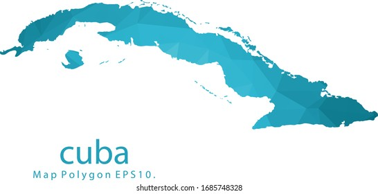 Cuba Map Abstract geometric rumpled triangular low poly style gradient graphic on white background