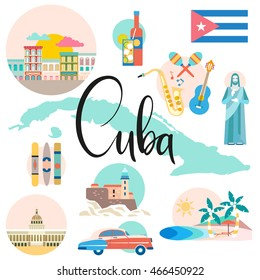 Cuba map with attraction and sights - travel concept. Vector illustration with traditional Cuban architecture, colourful buildings, car, guitar, cigars, cocktail, flag. Design elements for poster.