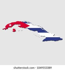 Cuba Map Flag