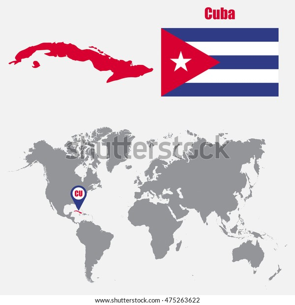 Cuba Map On World Map Flag Stock Vector (Royalty Free) 475263622