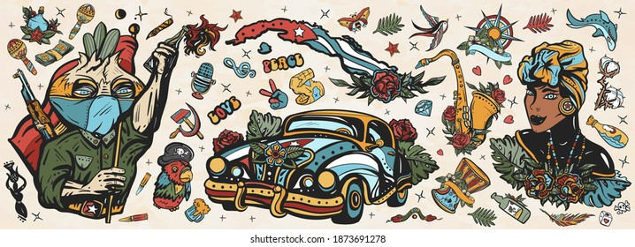 Cuba old school tattoo vector collection. Havana retro cars. Revolutionary communist, map, beautiful cuban woman, cigar, rum. History and culture, island of freedom. Traditional tattooing style