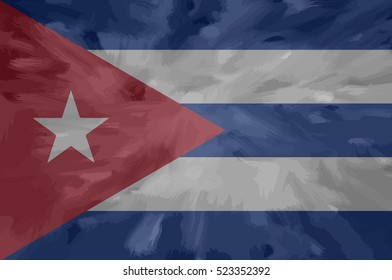 Cuba painted / drawn vector flag. Dramatic, unusual look. Vector file contains flag and texture layers